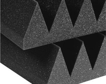 "Acoustic Foam Wedge 2"" 24"" x 24"" 2'x2' 4 sq Ft SINGLE - Sound Proofing/Blocking/Absorbing Acoustical Foam - Made in the USA!"
