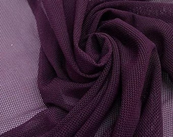 """Eggplant 58/60"""" Wide Solid Stretch Power Mesh Fabric Nylon Spandex Sold By The Yard."""