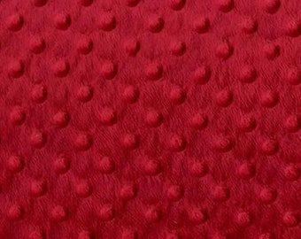 """Red 58"""" Wide 100%  Polyester Minky Dimple Dot Soft Cuddle Fabric SEW Craft Sold by The Yard."""