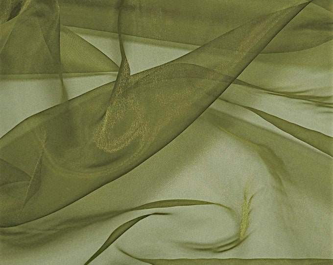 """Olive Green 58/60"""" Wide 100% Polyester Soft Light Weight, Sheer, See Through Crystal Organza Fabric Sold By The Yard."""
