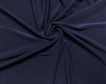 """Navy Blue 58/59"""" Wide ITY Fabric Polyester Knit Jersey 2 Way  Stretch Spandex Sold By The Yard."""