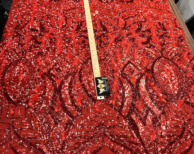 Red sequins Design With Feathers On A 4 Way Stretch Mesh Fabric-Prom-Nightgown-Sold By The Yard-Free Shipping In The USA-