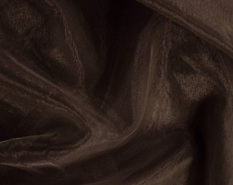 """Brown 58/60"""" Wide 100% Polyester Soft Light Weight, Sheer, See Through Crystal Organza Fabric Sold By The Yard."""