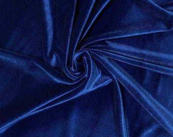 """Royal Blue 60"""" Wide 90% Polyester 10 present Spandex Stretch Velvet Fabric for Sewing Apparel Costumes Craft, Sold By The Yard."""