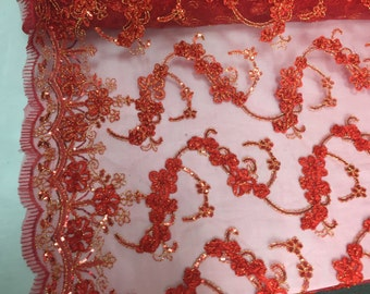 Red/gold 3d flowers ribbon embroider with a metallic tread on a mesh lace fabric-wedding-bridal-prom-nightgown fabric-sold by the yard.