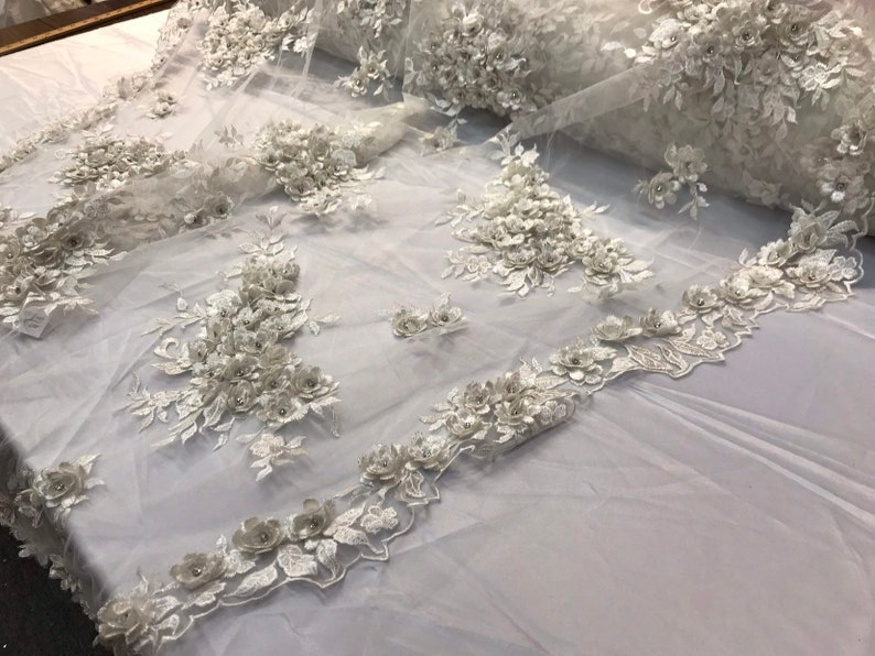 Ivory 3d floral design embroidery and beaded with rhinestones on a mesh lace-prom-nightgown-sold by the yard-free shipping in the USA