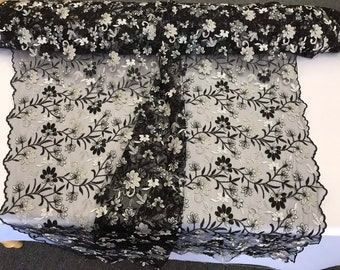 Black/gray multi color floral design embroidery on am wsh lace-dresses-apparel-fashion-prom-nightgown-sold by the yard.