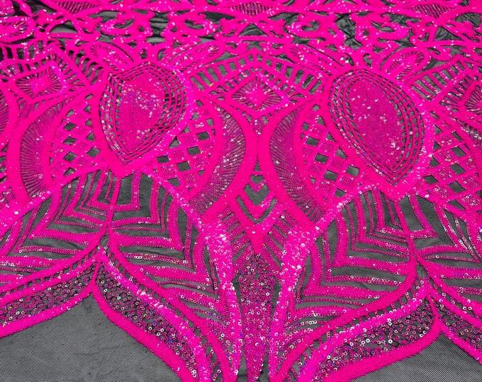 Neon pink iridescent royalty design on a black 4 way stretch mesh-prom-sold by the yard.