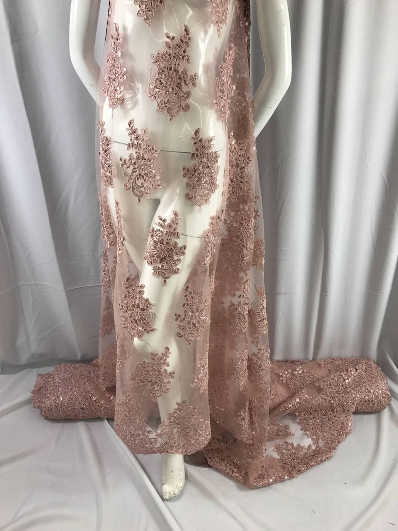 Dusty rose flower lace corded and embroider with sequins on a mesh Weddingbridalpromnightgown fabric-dresses-fashion-Sold by the yard.
