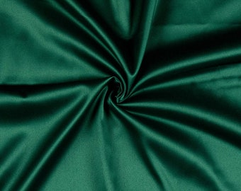 Hunter Green 95 Percent  Polyester 5% Spandex, 58 Inches Wide Matte Stretch L'Amour Satin Fabric, Sold By The Yard.