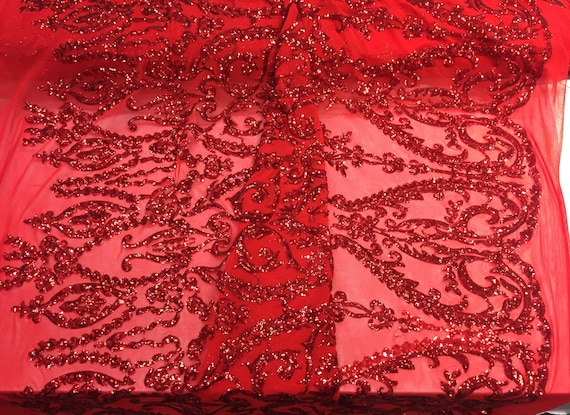 Red damask design embroider with Sequins On A 2 way stretch-prom-nightgown-decorations-sold by the yard.