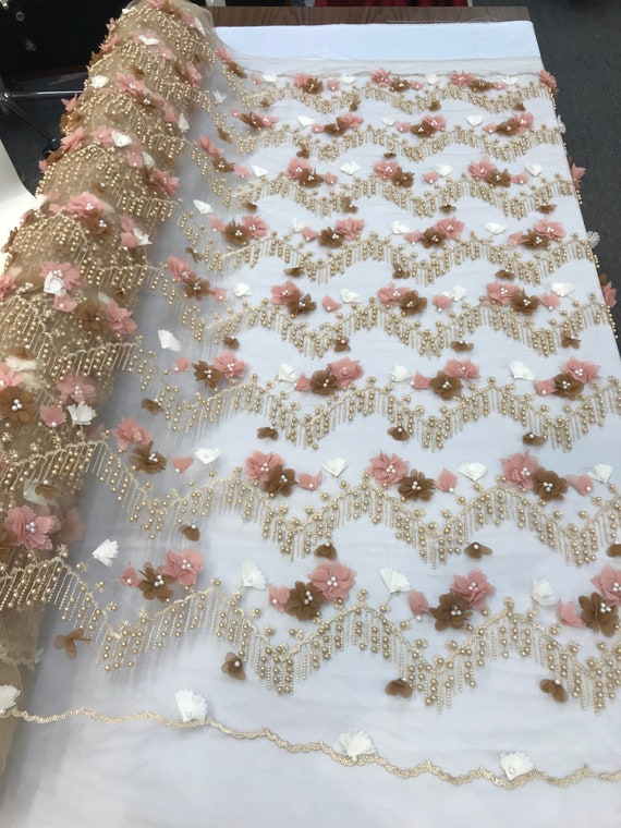 CHAMPAGNE FASHION FLORAL DESIGN EMBROIDER WITH SEQUINS AND BEADS ON A MESH-YARD