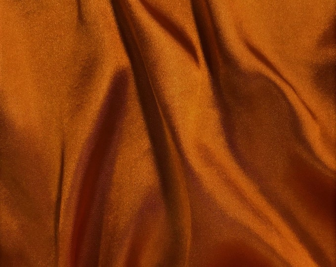 """Cinnamon 58-59"""" Wide - 96 percent Polyester, 4% Spandex Light Weight Silky Stretch Charmeuse Satin Fabric by The Yard."""