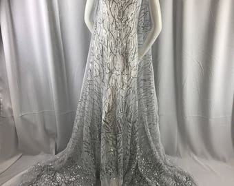 Dazzling White silver fashion tree Embroider with sequins on a mesh lace-prom-nightgown-bridal-decorations-dresses-sold by the yard