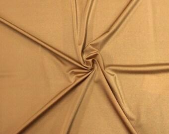 "Mist gold Shiny Milliskin Nylon Spandex Fabric 4 Way Stretch 58"" Wide Sold by The Yard"