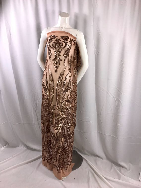 Skin color empire design with sequins embroider ona 2 way stretch mesh fabric-prom-nightgown-decorations-dresses-sold by the yard.