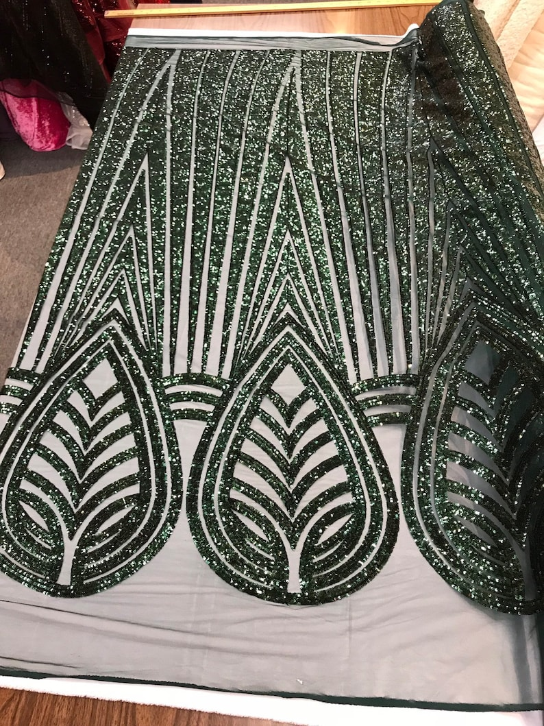 Black shiny sequins geometric design embroidery on a mesh-dresses-prom-nightgown-sold by the yard-free shipping.