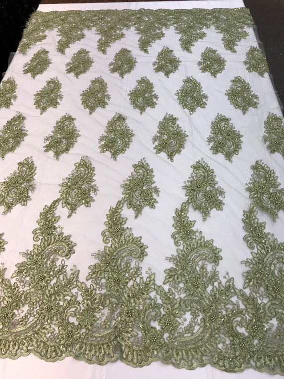 Sage green hand beaded flower design embroidery on a mesh lace-prom-nightgown-sold by the yard-free shipping in the USA-