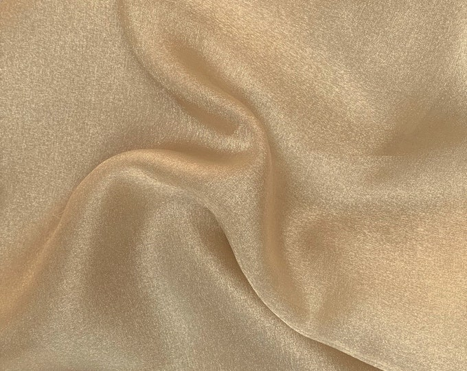 """Champagne 58/60"""" Wide 100% Polyester Soft Light Weight, Sheer, See Through Crystal Organza Fabric Sold By The Yard."""