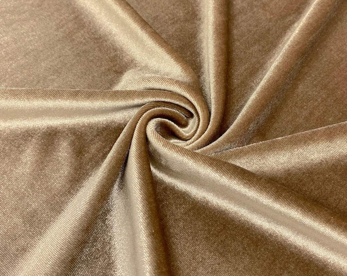 """Champagne 60"""" Wide 90% Polyester 10 present Spandex Stretch Velvet Fabric for Sewing Apparel Costumes Craft, Sold By The Yard."""