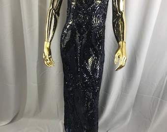 Navy blue princess design embroider with shiny sequins on a 4 way stretch power mesh-dresses-fashion-prom-nightgown-sold by the yard.