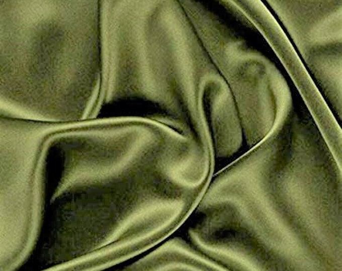 """Olive Green 58-59"""" Wide - 96 percent Polyester, 4% Spandex Light Weight Silky Stretch Charmeuse Satin Fabric by The Yard."""