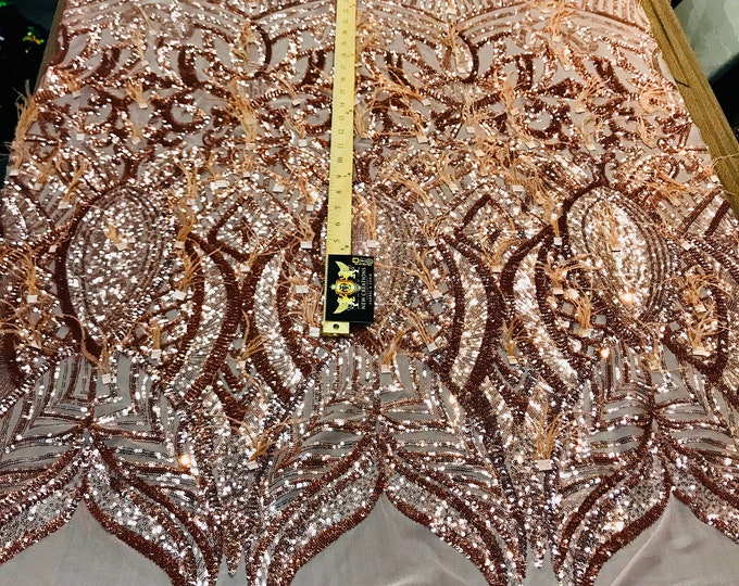 Rose Gold Sequins Design With Feathers On A 4 Way Stretch Mesh Fabric-Prom-Nightgown-Sold By The Yard-Free Shipping In The USA-
