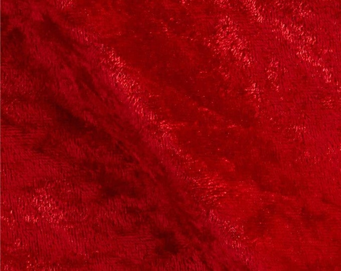 """Red 59/60"""" Wide Crushed Stretch Panne Velvet Velour Fabric Sold By The Yard."""