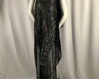 Black geometric diamond design embroider with sequins on a 2 way stretch mesh lace-dresses-fashion-nightgown-prom-sold by yard.