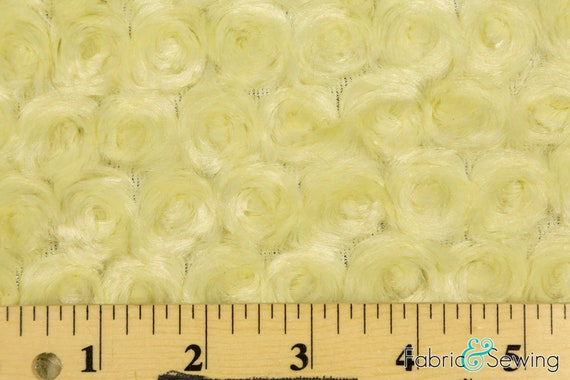 """Light Yellow 58-60"""" Wide Minky Swirl Rose Blossom Ball Rosebud Plush Fur Fabric Polyester Sold By The Yard."""