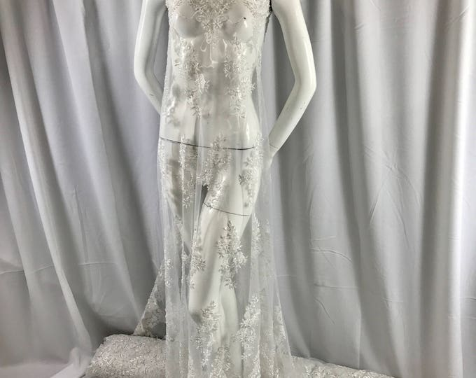 Elegant white hand beaded mesh lace. Wedding/Bridal fabric lace.36x50inches-prom-wedding-bridal-nightgown-dresses-fashion-Sold by the yard.