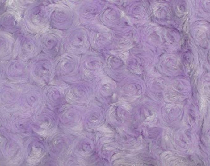 """Lavender 58"""" Wide Minky Swirl Rose Blossom Ball Rosebud Plush Fur Fabric Polyester-Sold By The Yard"""