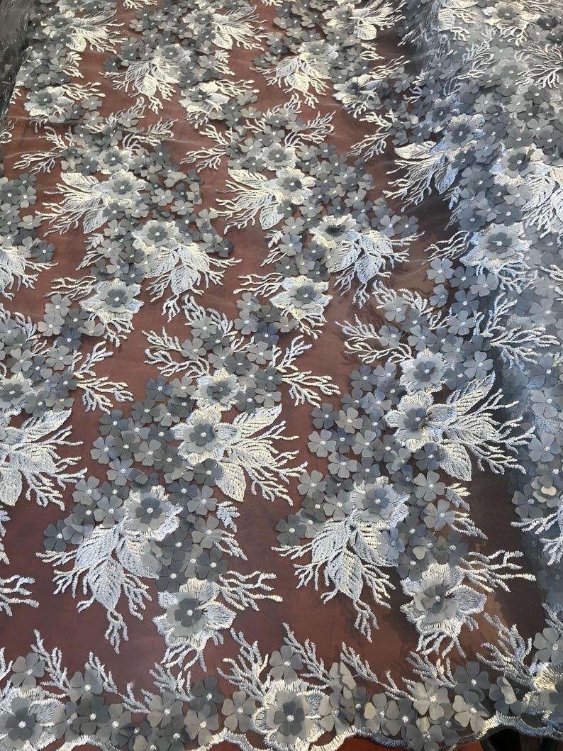 Gray-silver 3d royalty floral design embroider on a mesh lace-dresses-fashion-apparel-nightgown-decorations-sold by the yard.