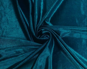 """Teal Blue 60"""" Wide 90% Polyester 10 present Spandex Stretch Velvet Fabric for Sewing Apparel Costumes Craft, Sold By The Yard."""