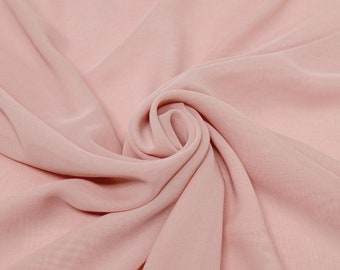 """Dusty Rose 58/60"""" Wide 100% Polyester Soft Light Weight, Sheer, See Through Chiffon Fabric Sold By The Yard."""