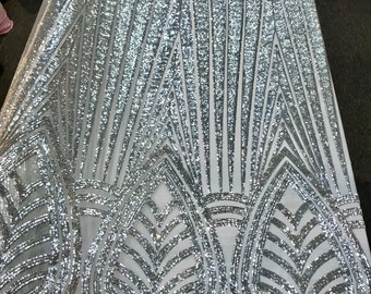 Silver shiny sequins geometric design embroidery on a white mesh-dresses-prom-nightgown-sold by yard-free shipping.