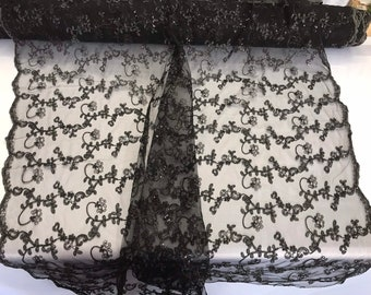 Black floral embroidery with shiny sequins and cord on a mesh lace-dresses-fashion-apparel-prom-nightgown-sold by the yard.