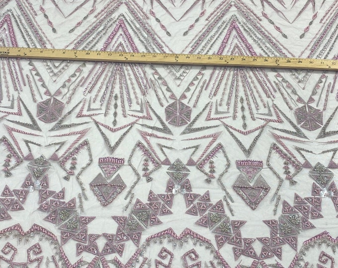 Pink multi color geometric design with heavy beaded and sequins on a mesh lace-prom-nightgown-sold by the yard.