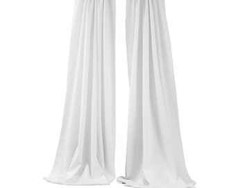 White 2 Panels Backdrop Drape, All Sizes Available in Polyester Poplin, Party Supplies Curtains.