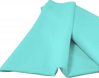 "Aqua Green 60"" Wide 100% Polyester Spun Poplin Fabric Sold By The Yard."