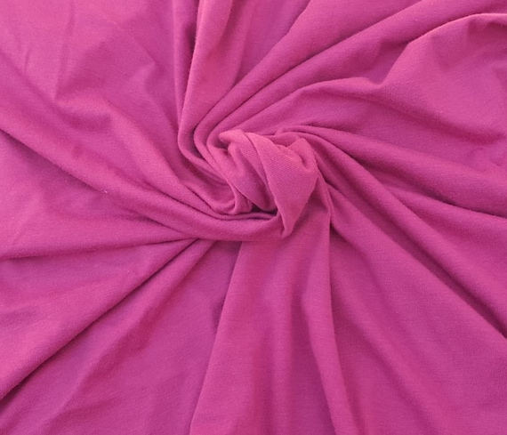 """Fuchsia 58/60"""" Wide, 95% Cotton 5 percent Spandex, Cotton Jersey Spandex Knit Blend, 4 Way Stretch Fabric Sold By The Yard."""