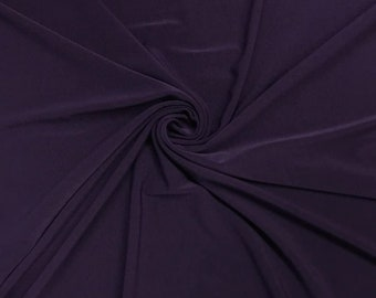 """Eggplant 58/59"""" Wide ITY Fabric Polyester Knit Jersey 2 Way  Stretch Spandex Sold By The Yard."""