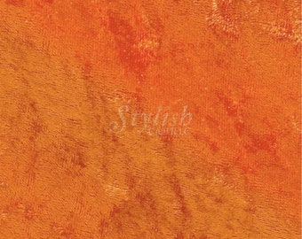 """Orange 59/60"""" Wide Crushed Stretch Panne Velvet Velour Fabric Sold By The Yard."""