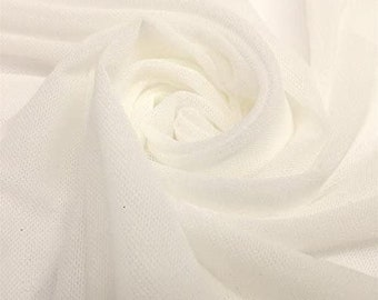 """Ivory 58/60"""" Wide Solid Stretch Power Mesh Fabric Nylon Spandex Sold By The Yard."""