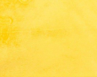 Blight Yellow Minky Smooth Soft Solid Plush Faux Fake Fur Fabric Polyester- Sold by the yard.