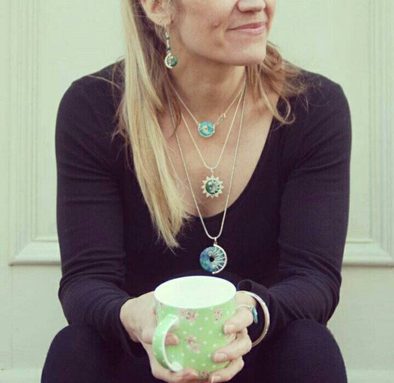 boho pendant on chain   thespiralrock handcrafted Silver /& Malachite gemstone necklace zen jewellery gift