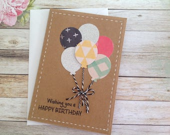 Cards etsy handmade birthday card birthday card kraft card balloon card handmade card m4hsunfo
