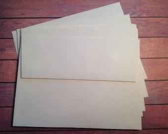 10 Plain Vanilla envelopes, 5 x 7 envelopes, A7 envelopes, Cream envelopes, DIY envelopes,