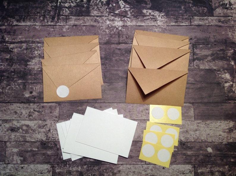 Mini stationery tiny cards and envelope set Mini cards Kraft paper envelopes mini stationary,