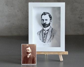 Custom Portrait, Hand-cut 3D illustration framed in shadow box
